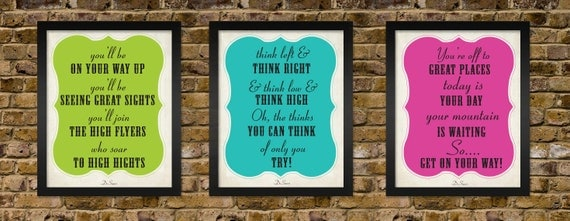 Dr.Seuss Motivational Typography Quote Poster Set - (3) 8x10 Prints - Classroom Artwork - Office Motivation - Perfect Teacher Gift