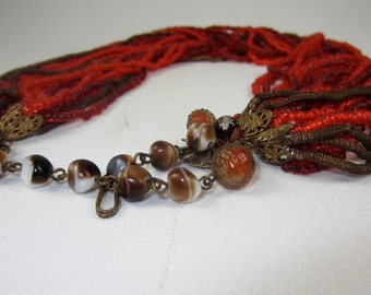 Miriam Haskell vintage red bead glass necklace