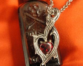 Vampire Heart Necklace, Gothic Jewelry, Thorn Necklace, Goth Necklace, Heart Necklace, Branch Necklace, Dark Jewelry, Heart, Goth Valentine