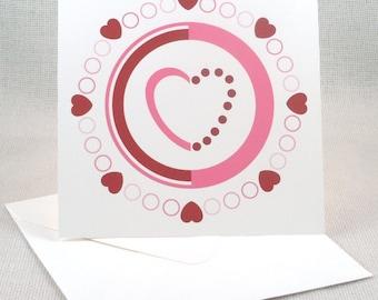 Circular Valentine Pattern Greeting Card
