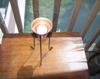 Copper Votive Candleholder with Black Metal Stand, candles, copper items, copper collector's piece...