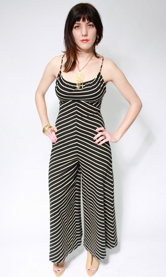 Jackie Vintage 1970's Black and White Striped Jumpsuit