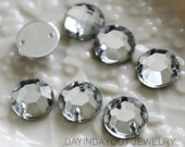 50pcs of 12mm Sparkly Faceted Round Sew on Acrylic Crystal Flatback with Holes for Accessory and Jewelry Making