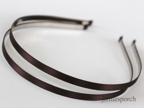 Satin Ribbon Covered Headband  Metal(Steel) Dark Brown 5mm(0.20inch or 3/16 inch) 5pcs..