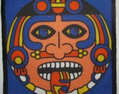 Printed Sew On Patch - AZTEC FACE - Classic Aztec face image from calendar