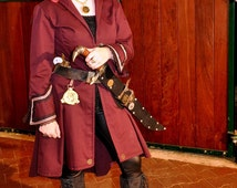 Steampunk, womens Airship Pirate long coat in maroon