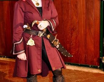 Steampunk Womens, Pirate, Victorian, Airship Burgundy Coat,