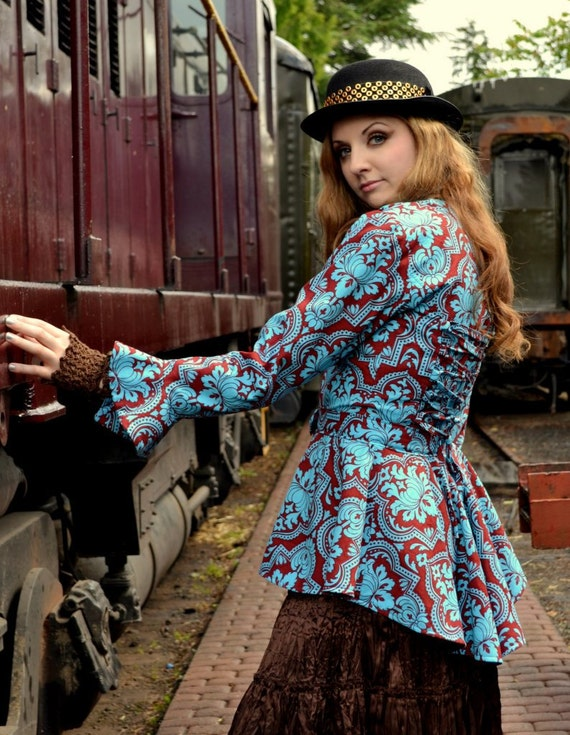Victorian Damask Print Jacket, Steampunk Clothing