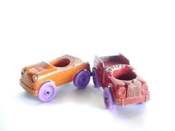 Tootsie Toy Cars - Set of 2 - Red, Orange with Purple Wheels - Vintage Toys - 1967, 1968 - Chicago, USA