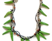 Beaded spike necklace African green Magnesite spears orange beads leather woven with silver chain-tribal modern jewelry