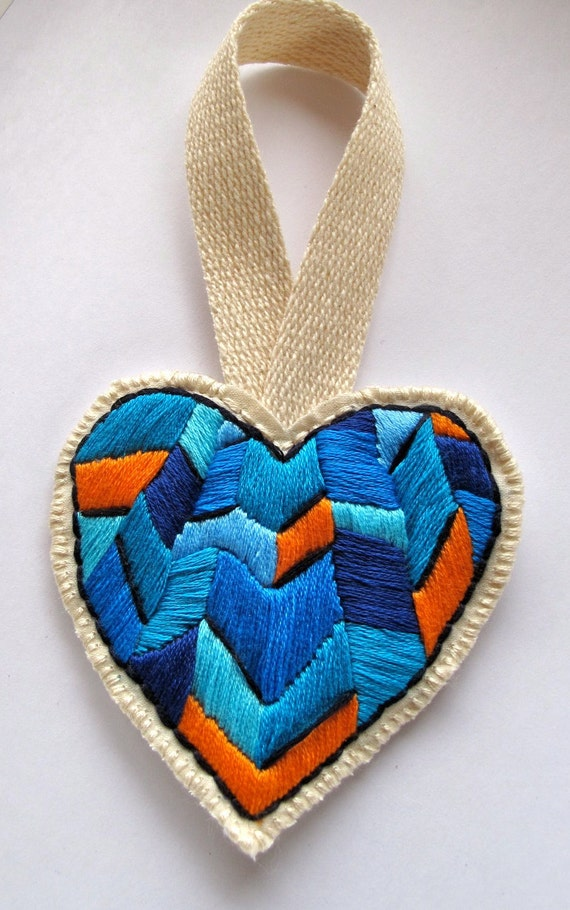 Chevron heart ornament in blues and orange, handmade embroidered