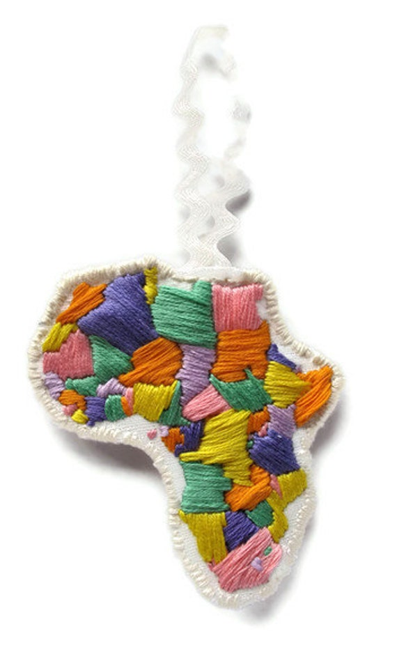 Africa embroidered ornament in pastels for Kwanzaa or Christmas