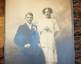 Victorian Photograph of a Bride and Groom Vintage 1900s