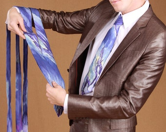 Groomsmen purple hand painted silk ties. Four matching art silk ties for groomsmen in blue, purple, white, yellow