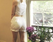 Handmade white cotton and lace shorts or bloomers.