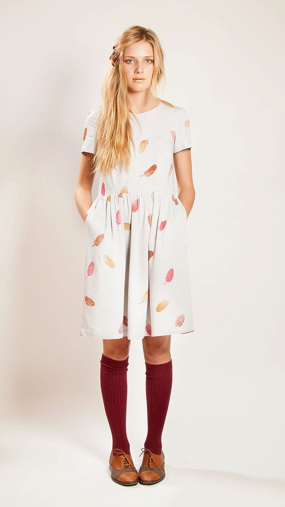 RESERVED for VANESSA The 'Falling Leaves'  hand printed bamboo dress with hip pockets