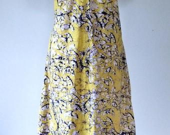 70's Batik Maxi Dress Festival Boho Hand Dyed Hippie Agave S M