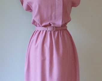 80's Rose Pink Dress Asymmetrical Button Belted Secretary Day Dress M L
