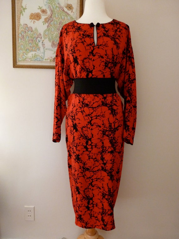 FLORA KUNG Water and Oil Pattern Silk Dress M