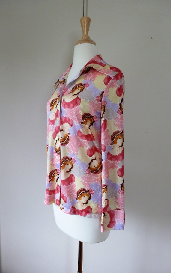 70's Disco Shirt Lovely Lady Novelty Print M L