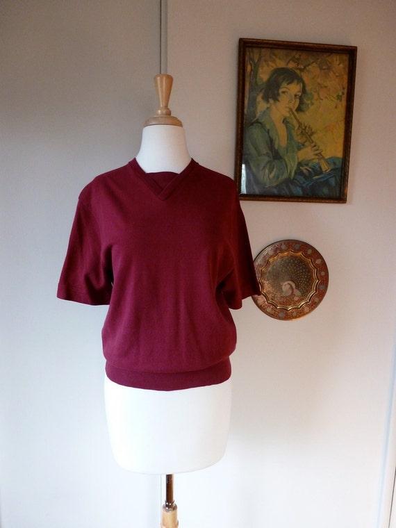 40's Jantzen Tee Mulberry Cotton T Shirt M L