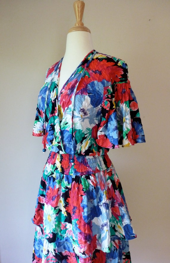 80's Diane Freis Peplum Cotton Ruffle Dress Tiered and Textured