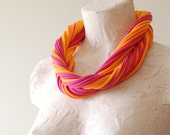 Womens Infinity Loop Scarf - Upcycled Tshirt Fabric Necklace - By LimeGreenLemon