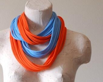 Infinity scarf - Upcycled tshirt - BLUE & ORANGE