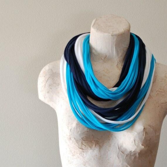 Infinity scarf - Upcycled tshirt - BLUE WHITE TURQUOISE - By LimeGreenLemon