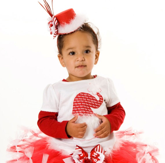 Christmas Crush Santa Hat T-Shirt - Holiday - Red and White - Infant, Toddler or Youth Girl - Cutie Patootie Designz