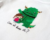 Girl and monster bodysuit - My pet monster - Can I keep it - embroidered made to order
