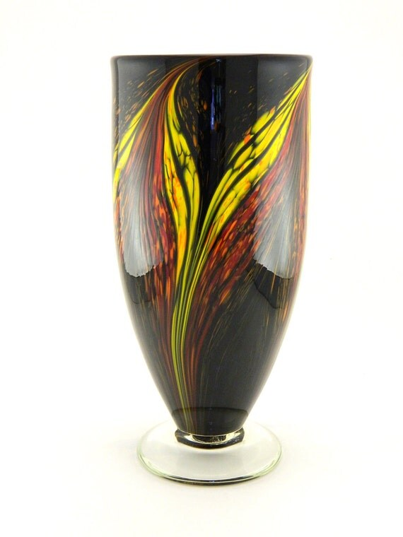 Hand Blown Art Glass Vase - Red, Orange, and Yellow Flames on Black