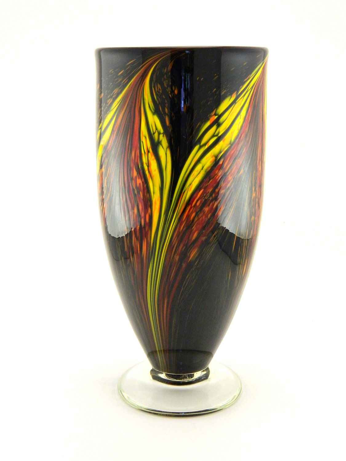 Hand blown art glass vase red orange and yellow flames on for Jardin glass vases 7 in