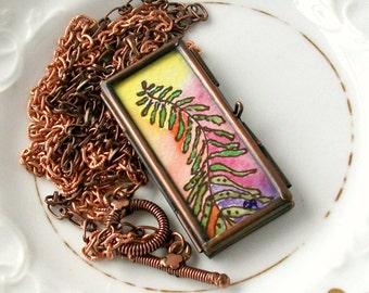 Fern & FiddleHead Handpainted Original Wearable Art Locket Reversable one of a kind ART To Wear Pendant Necklace