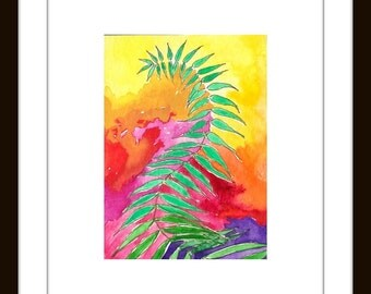 Dancing Ferns 3- Original ACEO Expressionist WaterColor painting