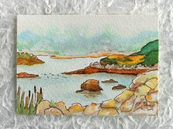 Nova Scotia Original Watercolor Painting Small format ACEO Peggy's Cove