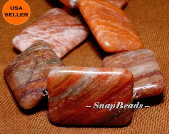 30MM Petrified Agate Gemstone, Copper Brown, Rectangle Cushion 30X22MM Loose Beads 6 Beads (10233373-58)