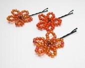 Beaded Flower Hair Pins - Girls Bobby Pins - Orange Beaded Hair Pins - Kids Hair Accessory - Hair Slide