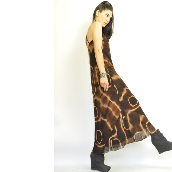 Totally Epic Sale: TO DYE FOR ViNtage MAXi / 90s supermodel / long brown dress / sheer outer layer / high neck / flare / xs s /