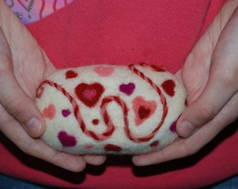 Felted Soap, Valentines Gift, Lavender Bar, Red Pink Hearts. Valentine's Day Gift, Romance