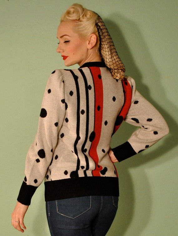 Vintage Sweater Polka Dot Cardigan Pinup Rockabilly 1950s Style Knit Sweater