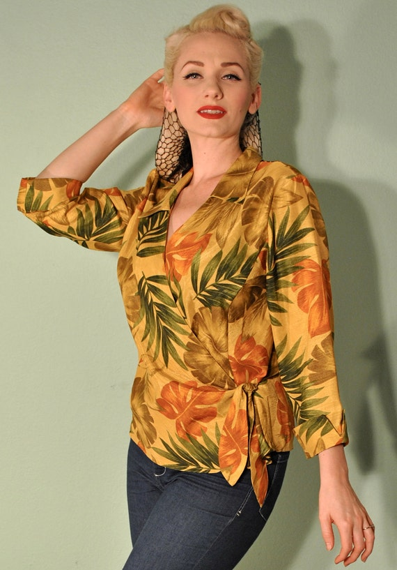 Tiki Vintage Tropical Blouse 50s 60s Pinup Hawaiian Rockabilly Great for Summer Events and BBQ
