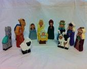 Handmade Wooden 12 piece Nativity
