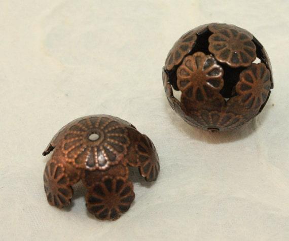 Copper Round Filigree Iron Bead 16mm (12 pcs) C10