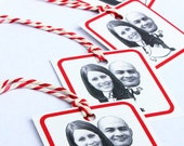 Custom Face Portrait Wedding Tags // Favors // Personalized // Bakers Twine