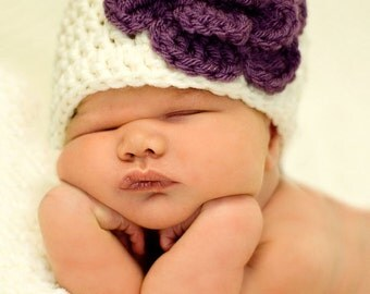 Newborn, Toddler, Child Crochet Leia Flower Hat All Sizes