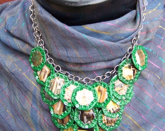 "OOAK -Green Motif- Upcycled Magazine Collage and Beer Cap Motif on Chain Necklace  ""Amsterdam"""