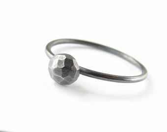 Oxidized silver ring . Faceted nugget stacking ring. Simple minimalist jewellery.