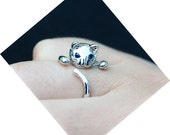 Silver Plated Adjustable Cat Ring with Blue Zirconia Eyes - FREE SHIPPING