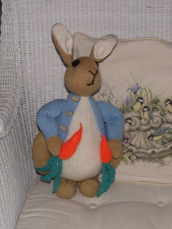 Knitting Pattern For Peter Rabbit Blanket : Hand Knitted Beatrix Potter character Peter Rabbit / bunny
